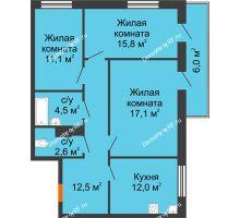 3 комнатная квартира 76,6 м² в ЖК Современник, дом Позиция 7 - планировка
