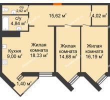 3 комнатная квартира 87 м² в ЖК Империал, дом Литер 9 - планировка