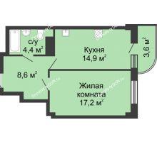 1 комнатная квартира 48,7 м² в ЖК Звездный, дом № 5