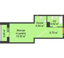 Студия 33,94 м² в ЖК Рассвет, дом №8 - планировка