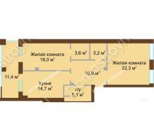 2 комнатная квартира 81,6 м², Жилой дом: ул. Почаинская д. 33 - планировка