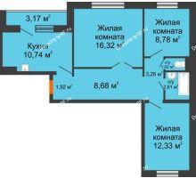 3 комнатная квартира 67,25 м² в ЖК Иннoкeнтьeвcкий, дом № 6 - планировка
