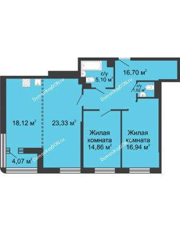 3 комнатная квартира 98,7 м² - ЖК Бристоль