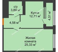 1 комнатная квартира 48,77 м², ЖК Гран-При - планировка