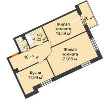 2 комнатная квартира 63,46 м² в ЖК Новый Академгородок, дом № 2 - планировка
