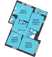 3 комнатная квартира 93,06 м² в ЖК Книги, дом № 2 - планировка