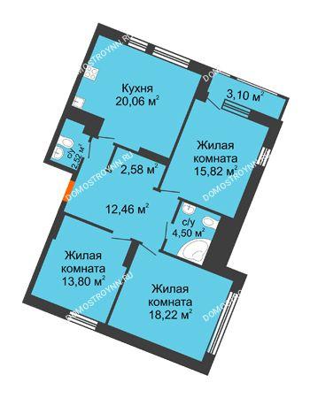 3 комнатная квартира 93,06 м² в ЖК Книги, дом № 2