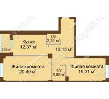2 комнатная квартира 68,43 м² - ЖК Грани