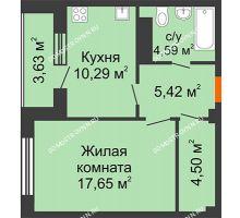 1 комнатная квартира 44,26 м² в ЖК Облака, дом № 2 - планировка