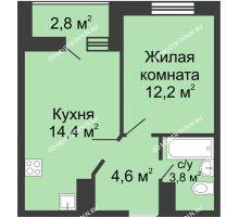 1 комнатная квартира 36,4 м² в ЖК Цветы, дом № 10 - планировка
