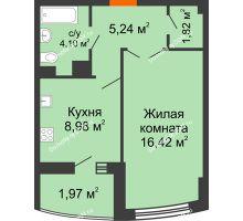 1 комнатная квартира 40,49 м² в ЖК Университетский 137, дом Секция С1 - планировка