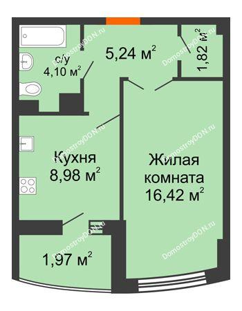 1 комнатная квартира 40,49 м² в ЖК Университетский 137, дом Секция С1
