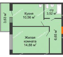 1 комнатная квартира 35,61 м² в ЖК Образцово, дом № 4 - планировка