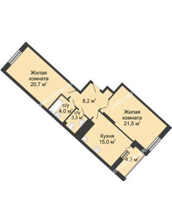 2 комнатная квартира 77,3 м² в ЖК Монолит, дом № 89, корп. 3