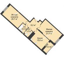 2 комнатная квартира 77,3 м² в ЖК Монолит, дом № 89, корп. 3 - планировка