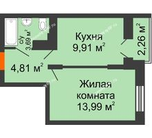 1 комнатная квартира 32,6 м², ЖК Открытие - планировка
