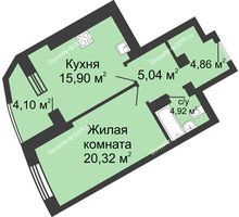 1 комнатная квартира 54,14 м², ЖК Юбилейный - планировка