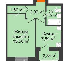1 комнатная квартира 34,92 м² в ЖК Москва Град, дом 60/1 - планировка