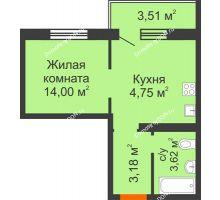 Студия 27,3 м² в ЖК Суворовский, дом Литер 12, Участок 120 - планировка