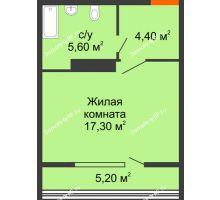 Студия 29,9 м² в ЖК Самолет, дом Литер 2 - планировка