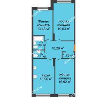 3 комнатная квартира 86,97 м² в ЖК Маленькая страна, дом № 4 - планировка