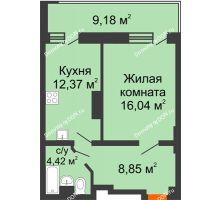 1 комнатная квартира 44,43 м² в ЖК Встреча, дом № 1 - планировка