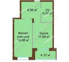 1 комнатная квартира 46,61 м² в ЖК Солнечный город, дом на участке № 208 - планировка
