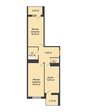 2 комнатная квартира 69,33 м² в ЖК Фамилия, дом Литер 1