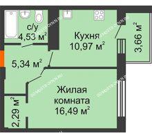 1 комнатная квартира 41,45 м² в ЖК Облака, дом № 2 - планировка