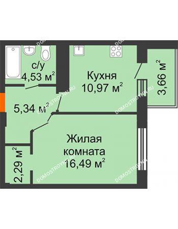 1 комнатная квартира 41,45 м² в ЖК Облака, дом № 2