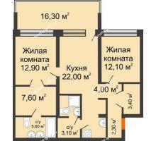 2 комнатная квартира 76 м² в ЖК Европейский квартал, дом ГП 3 - планировка