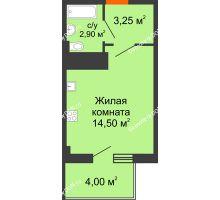 Студия 21,85 м² в ЖК Грин Парк, дом Литер 1 - планировка
