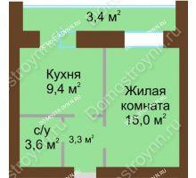 1 комнатная квартира 38,1 м² в ЖК Рубин, дом № 67