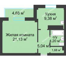 1 комнатная квартира 43,77 м² в ЖК На Победной, дом № 8