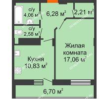 1 комнатная квартира 46,37 м² в ЖК Облака, дом № 2
