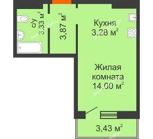 Студия 26,06 м² в ЖК Суворовский, дом Литер 12, Участок 120 - планировка