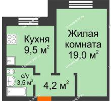 1 комнатная квартира 36,2 м² в ЖК Видный, дом № 2 - планировка