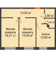 2 комнатная квартира 62,22 м², ЖК Две реки - планировка