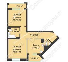 2 комнатная квартира 75,26 м² в ЖК Воскресенская слобода, дом №1 - планировка