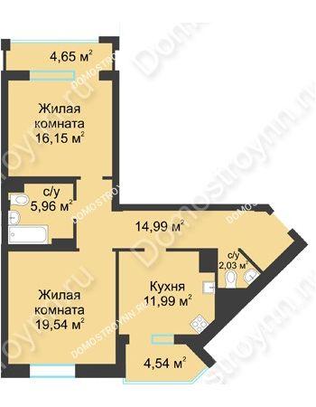 2 комнатная квартира 75,26 м² в ЖК Воскресенская слобода, дом №1