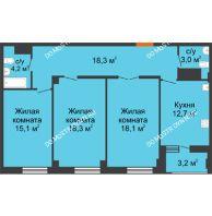3 комнатная квартира 91,3 м² в ЖК Квартет, дом № 3 - планировка