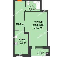 1 комнатная квартира 52,7 м² в ЖКСпутник, дом Позиция 4 - планировка
