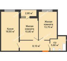 2 комнатная квартира 28,2 м² в ЖК Самолет, дом Литер 4 - планировка