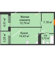 1 комнатная квартира 46,19 м², ЖК Горизонт - планировка