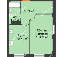 1 комнатная квартира 39,73 м² - ЖК Каскад на Ленина