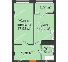 1 комнатная квартира 47,39 м² в ЖК Малахит, дом № 1 - планировка