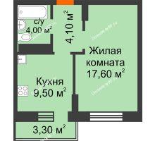 1 комнатная квартира 36,2 м² в ЖК Адмирал, дом 3 Очередь - планировка