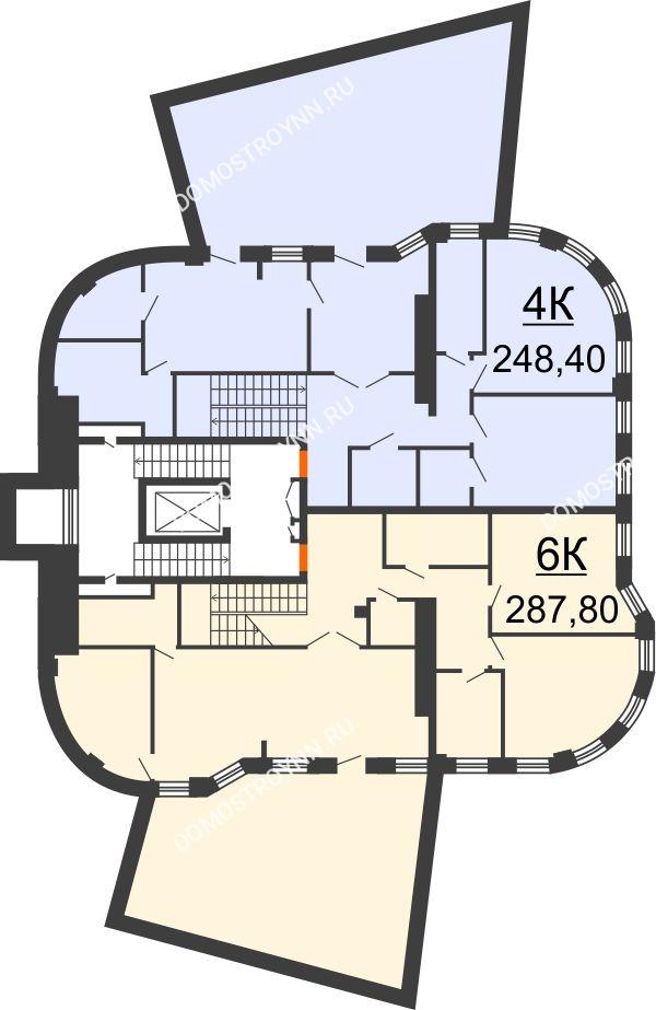 Планировка 2 этажа в доме № 2 в ЖК Плотничный