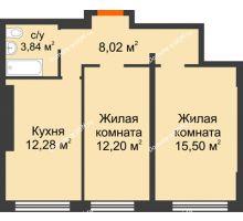 2 комнатная квартира 51,84 м², ЖК Левенцовский - планировка