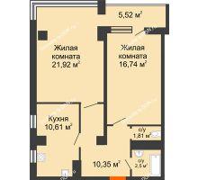 2 комнатная квартира 69,45 м² в ЖК Северный Остров, дом № 6 - планировка